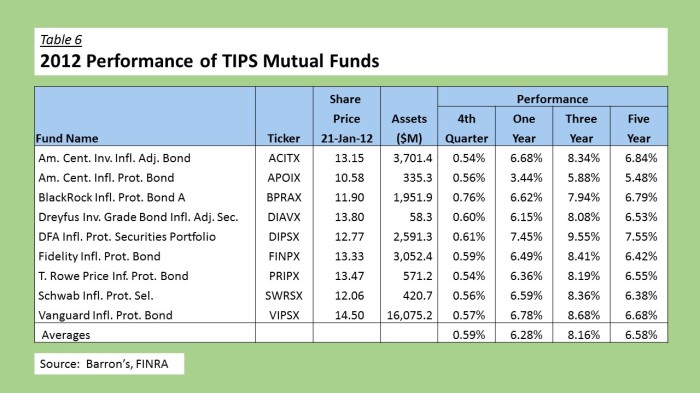 2012 TIPS Mutual Funds
